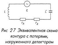 Эквивалентная схема контура с потерями, нагруженного детектором