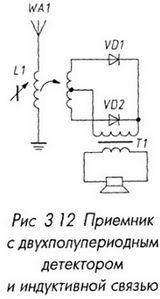 Приемник с двухполупериодным детектором и индуктивной связью