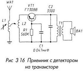 Приемник с детектором на транзисторе