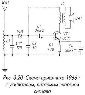 Схема приемника 1966 г с усилителем, питаемым энергией сигнала