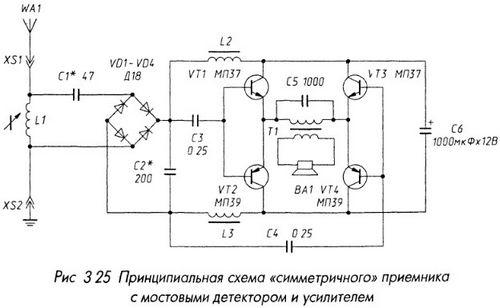 Приемник с мостовыми детектором и усилителем