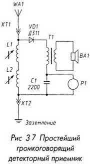 Простейший громкоговорящий детекторный приемник