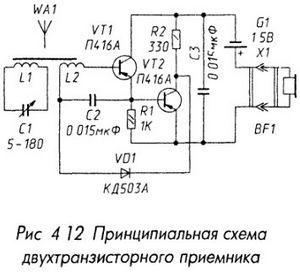Схема двухтранзисторного приемника