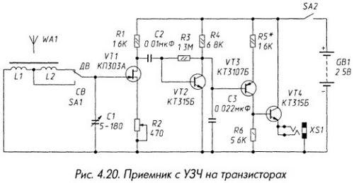 Приемник с УЗЧ на транзисторах