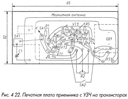 Печатная плата приемника с УЗЧ на транзисторах