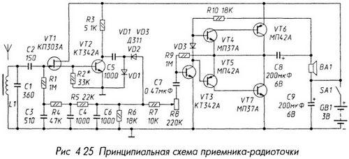 Схема приемника-радиоточки
