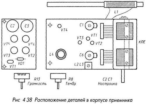 Расположение деталей в корпусе приемника
