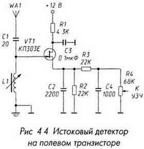 Истоковый детектор на полевом транзисторе