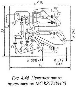 Печатная плата приемника на МС КР174УН23
