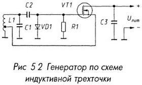 Генератор по схеме индукивной трехточки