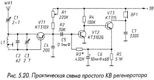 Практическая схема простого КВ регенератора